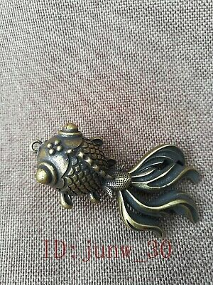 Rare Chinese Collectible Antique Old Brass Handwork Goldfish Pendant