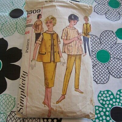Simplicity 5517 sewing pattern ladies shirt mini-skirt pants hipsters 12 bust 34