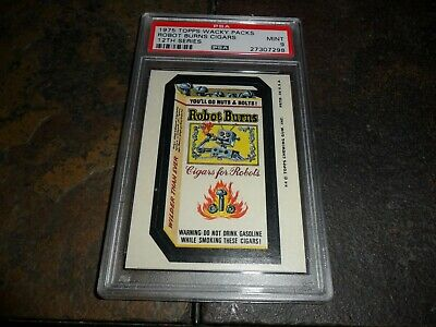 RARE 1975 Topps Wacky Pack Packages ROBOT BURNS CIGARS 12th Series 12 PSA 9 MINT