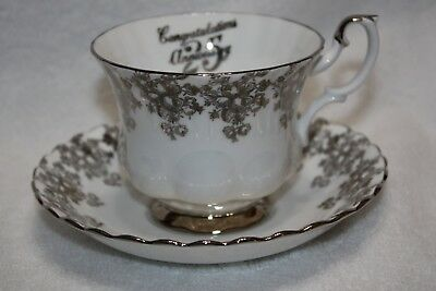 Royal Albert Fine Bone China Footed Silver Trim 25th Anniversary Teacup and Sauc