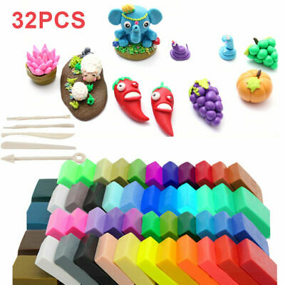 32 Mixed Color Set Oven Bake Fimo Polymer Soft Clay Modelling Moulding DIY Toy