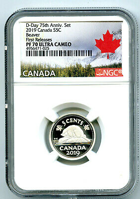 2019 Canada 5 Cent .9999 Silver Proof Nickel Ngc Pf70 Ucam First Releases
