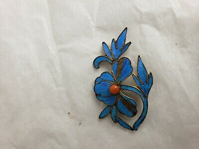 Antique Chinese blue Kingfisher feather hair stick pin ornament