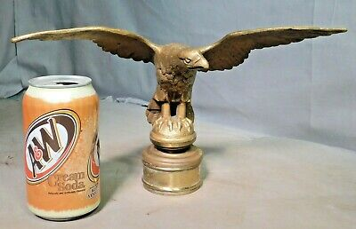 Antique Gilt Cast Brass Bronze Eagle Statue Figure Flag Topper Finial 1800's OLD