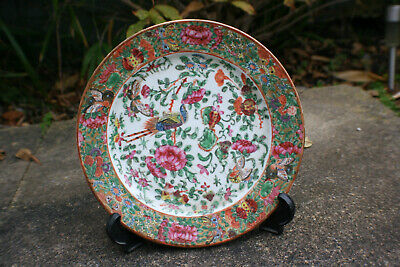19th Century Antique Chinese Porcelain Hand Painted Flower Butterfly Plate