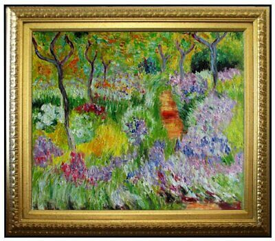 Framed, Monet Garden at Giverny Repro, Quality Hand Painted Oil Painting 20x24in