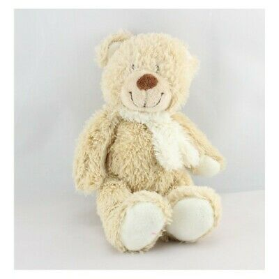 Doudou ours beige écharpe blanche TEX BABY 20 cm - Ours
