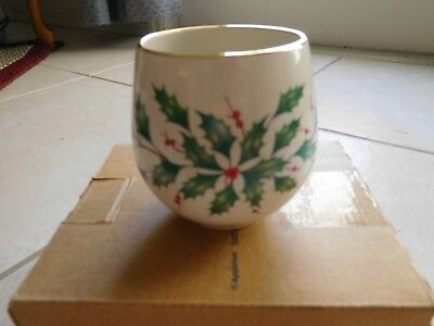 China Lenox Holiday (Dimension) Holly Porcelain Votive Candle Gold Trim (CC)