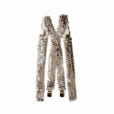 Dress Up America Mens Silver Sequined Suspenders