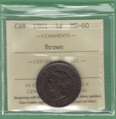 1901 Canadian Large One Cent Coin - Brown - ICCS Graded MS-60