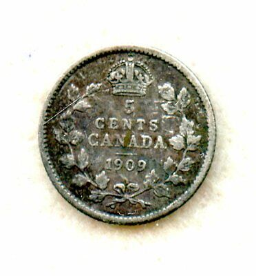 Canada  ~ 1909 Pointed Leaves ~ 5 Cent ~ Silver ~ F