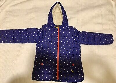 Girl's Blue Star Mini Boden Age 9-10 Years Cosy 2 In 1 Coat Body Warmer  Hooded
