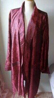 Men's Vtg 60s St Michael Silky Tricel Red Paisley Dressing Gown Robe Size XLarge