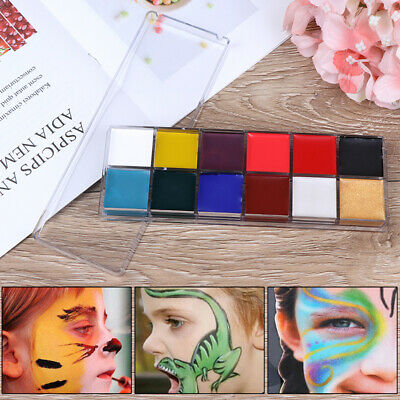 12 Colors Face Body Paint Oil Painting Art Make Up Tool Set Halloween Party K JG