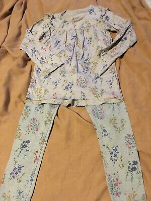 Next Girls Grey Blue Flower Pattern Pyjamas Age 9 Years Good Condition