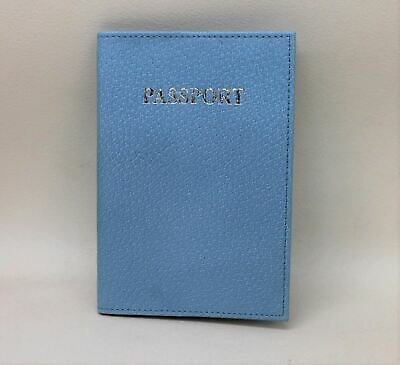 KIKI JAMES LONDON Blue Classic Leather Passport ID Cover Document Holder NEW
