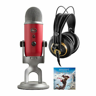 Blue Yeti Microphone (Red) and Assassin's Streamer Bundle with Studio Headphones