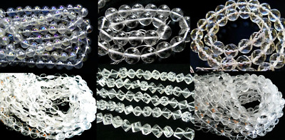 clearance-15.5''100% natural rock crystal quartz round heart coin gemstone beads