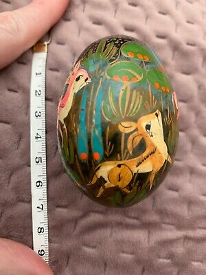 Russian Hand Painted Wooden Egg Deer Design