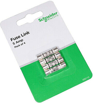 Schneider Electric 400113 5A BS1362 FUSES Pack of 4, Black, Set of 4 Pieces