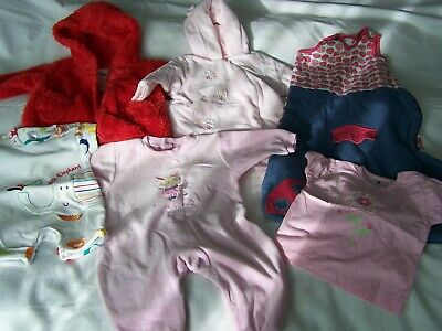 VGC Baby Girls 6 Piece Clothes Bundle From M&S, Mothercare, Pumpkin Patch 0-6m