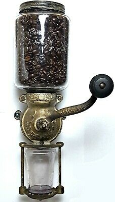 COFFEE GRINDER Antique FARM HOUSE MILL Victorian WALL MOUNT Tin BURR a CAST IRON
