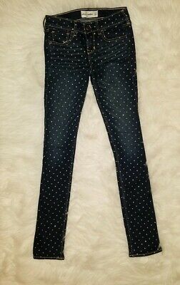 Girls 14 ABERCROMBIE KIDS Dark Blue Skinny JEANS SILVER SHIMMERY DOTS ALL OVER