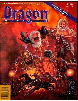 """TSR UK Dragon Ma #153 """"Across the D&D Known World, A Manticore's Tale, S Mag VG"""
