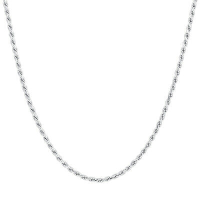 10k White Gold 1mm Solid Rope Chain Necklace # UN016