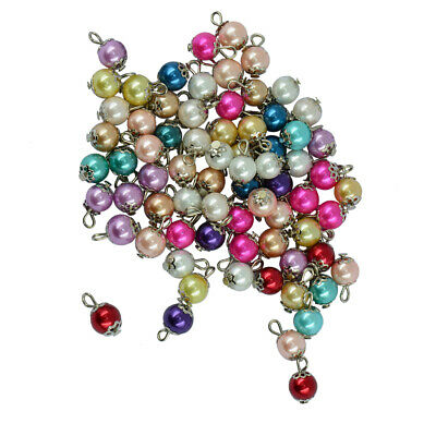50pcs Mixed Bright Color Eye Pin Alloy Flower Cap Glass Pearl Loose Beads