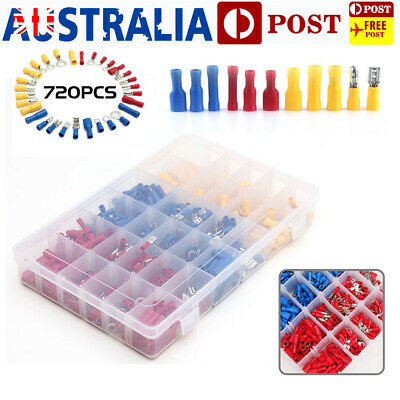 720Pcs Electrical Wire Connector Assorted Insulated Crimp Terminals Spade Set AU