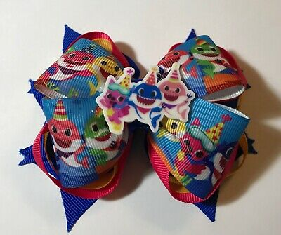 Handmade Baby Shark Stacked Boutique Girls Hair Bow