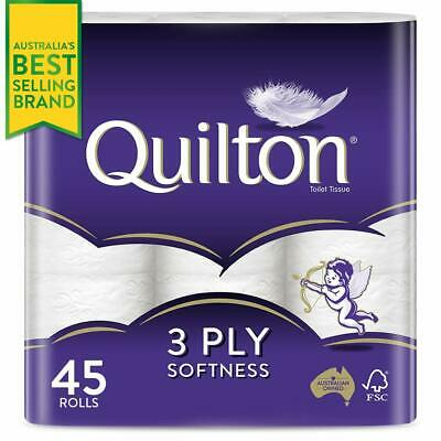 Toilet Paper 45 Rolls Deluxe Quilton 3 Ply White Soft PRO Large Roll Tissue Bulk