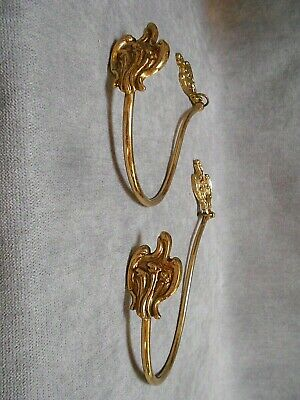 1960s Pair French VINTAGE Bronze & Brass Curtain TIEBACKS