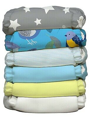Charlie Banana Hybrid AIO Reusable One Size Baby Cloth Diaper 6 PK Twitter Star