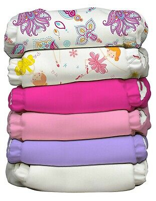 Charlie Banana Hybrid AIO Reusable One Size Baby Cloth Diaper 6 PK Girly