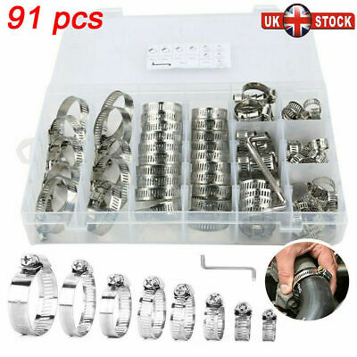 60X Assorted Stainless Steel Hose Clamp Kit With No Driver Jubilee Clips Set Top