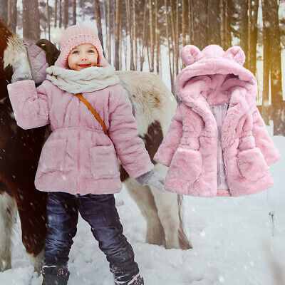 Winter Baby Girls Fur Coat Kids Faux Fur Jacket Coats Thick Warm  Outerwear 2-6Y