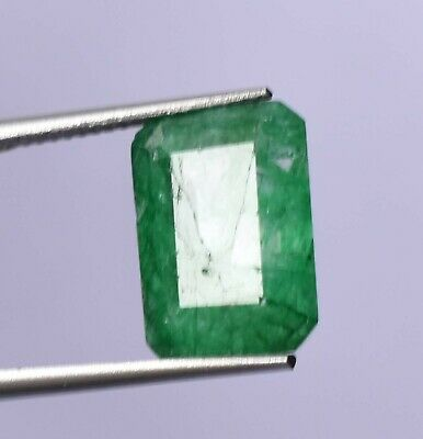 Top Grade Natural Colombian 7.55 ct Green Emerald Octagon Cut Loose Gemstone