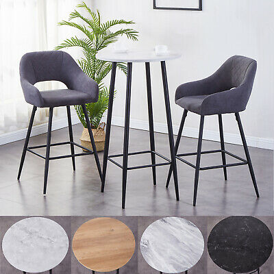 Set of 3 Bar Stools Table Fabric Padded Seat Metal Legs High Seat Breakfast Home