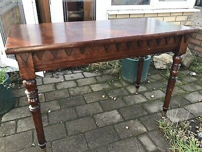 Antique Mahogany Large Console Table Beautiful Turned Legs And Brass Trumpet Fee