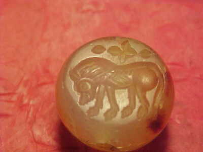 Sasanian dome seal of carnelian (Lion ) circa 224-642 AD.