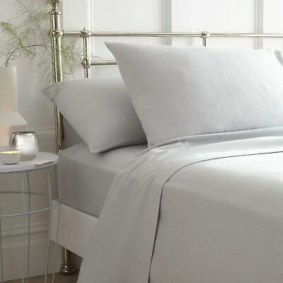 Grey Flannelette Sheets 100% Brushed Cotton Bedding Fitted Flat Sheet Full Sets