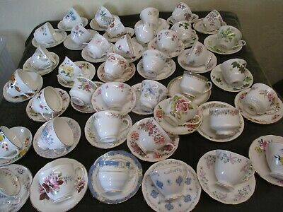Job Lot Of 20 Mismatch Vintage Cups And Saucers For Tea Parties/Weddings/Tearoo