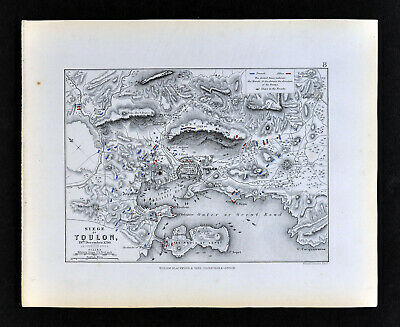 1855 Alison Military Map Siege of Toulon France 1793 French Riviera Napoleon