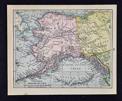 1900 McNally Map Alaska Sitka Yukon Klondike Gold Region Dawson Chilkoot Pass AK