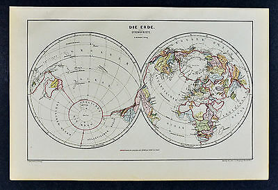 c 1885 Hartleben Map World Stromgebiete Ocean Boundaries Interior Desert Current