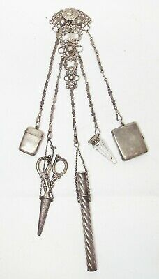 Antique STERLING SILVER Ornate CHATELAINE w/ 5 Appendages PEN Perfume COMPACT