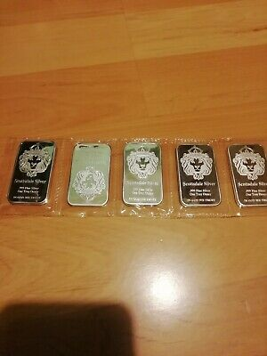 "5 x 1 oz ""The One"" Silver Bar by Scottsdale Silver .999 Fine Silver"
