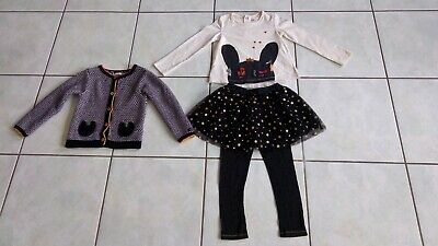 Ensemble 4 Pieces Fille Catimini 2/3 Ans Gilet + Tee Shirt + Jupe + Leggins Tbe